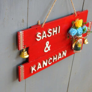 Customised  Wooden Name Plate (RED) – Unique Gift